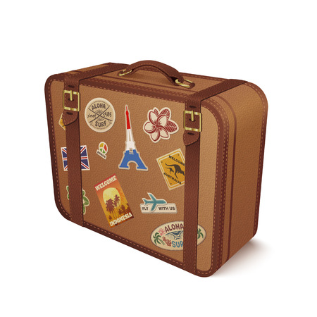 baggage: Old vintage leather suitcase with travel stickers, vector illustration