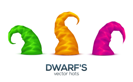 dwarf costume: Green, yellow and pink colors dwarfs caps vector set