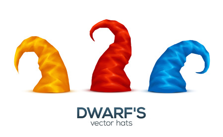 Green, yellow and pink colors dwarfs caps vector set