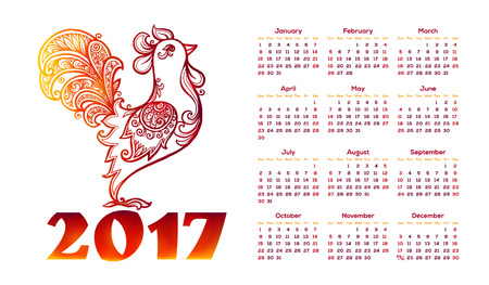 chinese calendar: Vector calendar with red rooster in hand drawn doodle style and 2017 sign. Chinese symbols of new year. Illustration