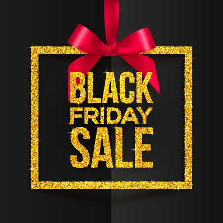 Golden glitter vector square frame hanging on red silky ribbon with bow and golden Black Friday Sale sign inside Illusztráció