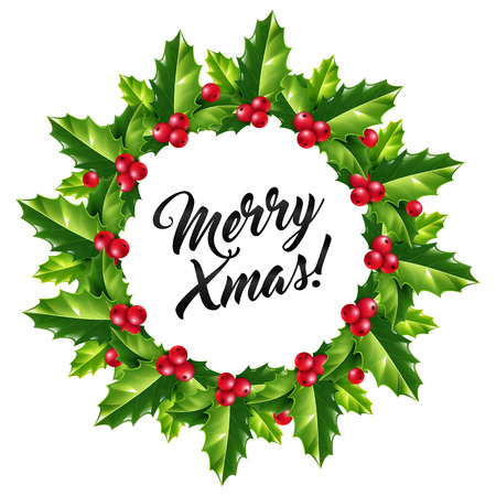 spiked: Merry Christmas sign in holly berry wreath isolated on white background. Green holly leaves and red berries  Christmas wreath with ink lettering inside. Illustration