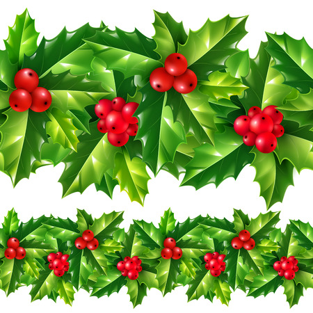 Christmas holly leaves and berries vector repeating seamless garland