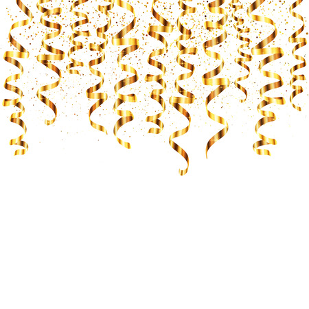 Vector golden serpentine hanging from the top with golden dust on background