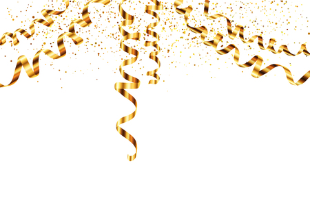 Vector golden serpentine diagonal ribbons hanging from the top with golden dust on background