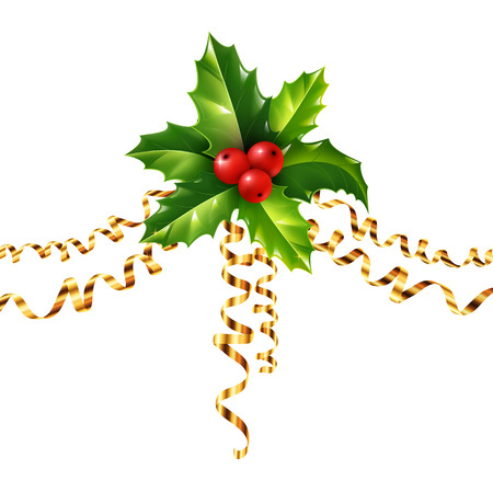 christmas symbol: Vector holly Christmas symbol with golden serpentine isolated on white background Illustration