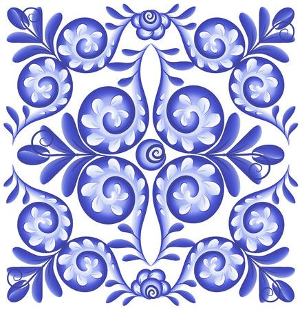 Blue vector floral square napkin in Portuguese ceramics style