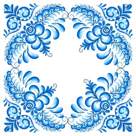 napkin: Vector blue floral ornament napkin decoration in Russian gzhel style