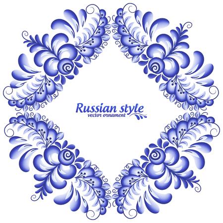 napkin: Blue vector square napkin in Russian Gzhel style on white background