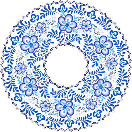souvenir: Blue floral pattern in Russian gzhel style round vector frame