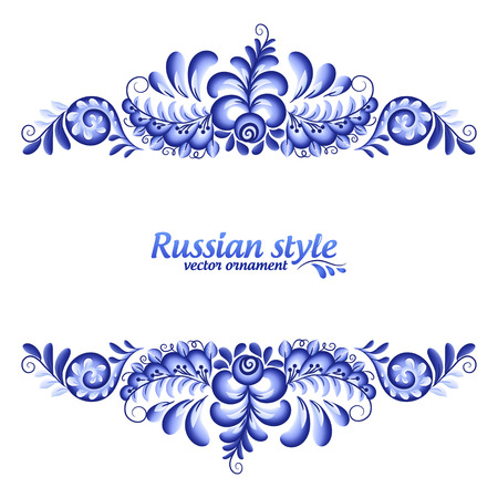 Blue floral vector line frame in Russian traditional Gzhel style