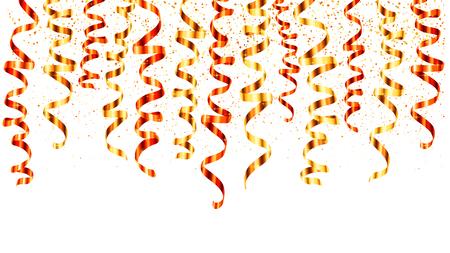 Czerwone i złote wstążki wektor serpentyn zakręcony zawiasowe z góry