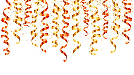 Red and gold vector serpentine curled ribbons hinging from the top