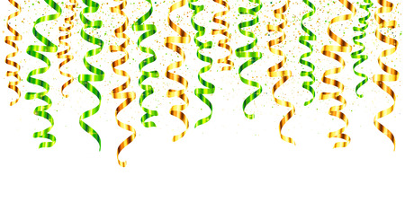 curling: Green and gold vector serpentine curled ribbons hinging from the top