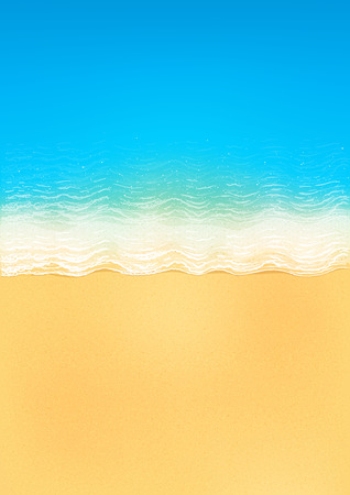 ocean view: Vector top view of calm ocean beach with blue waves, yellow sand, and white foam, vertical image Illustration