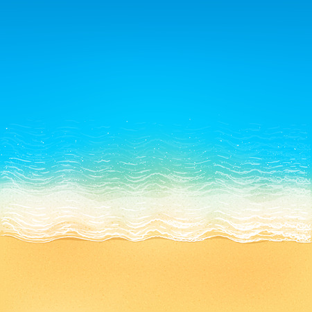 ocean view: Vector top view of calm ocean beach with blue waves, yellow sand, and white foam Illustration