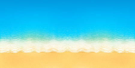 tropical beach panoramic: Vector top view of calm ocean beach with blue waves, yellow sand, and white foam, horizontal image Illustration