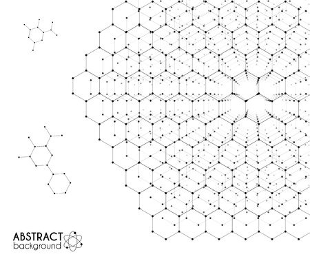 white abstract: Black and white molecular hexagonal grid vector chemistry abstract on white background