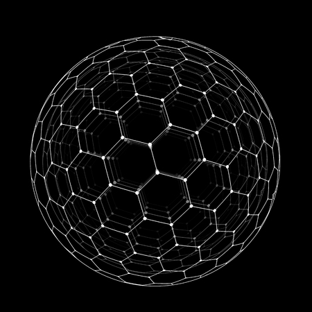 Vector hexagonal grid buckyball or fullerene sphere isolated on black background
