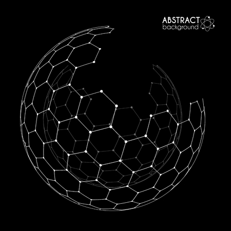 Vector hexagonal grid broken sphere isolated on black background
