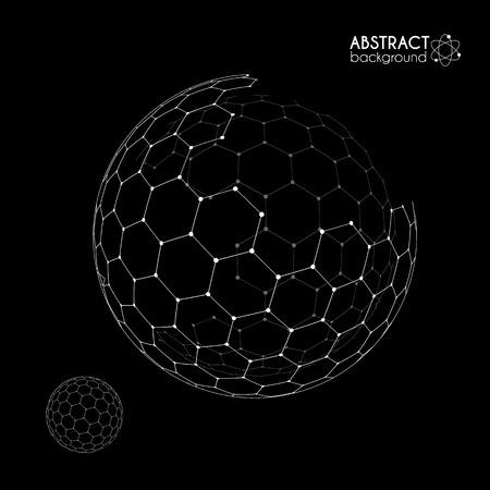 Vector hexagonal grid broken sphere planet model isolated on black background Çizim