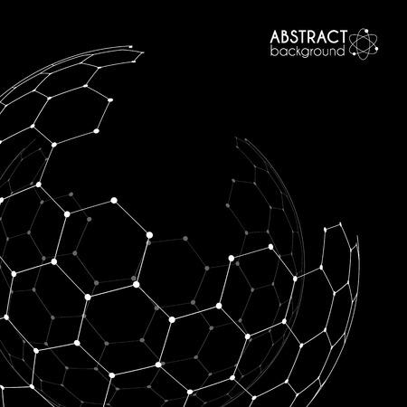 sceleton: Vector hexagonal carbon grid broken sphere isolated on black background