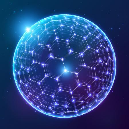暗い宇宙背景の面に六角形の炭素球の輝く青いベクトル  イラスト・ベクター素材