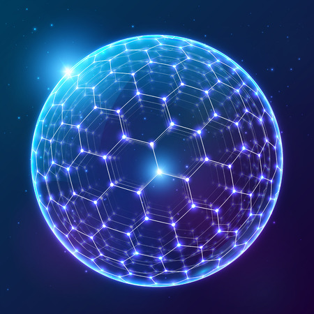 Blue vector shining carbon sphere with hexagonal surface on dark cosmic background