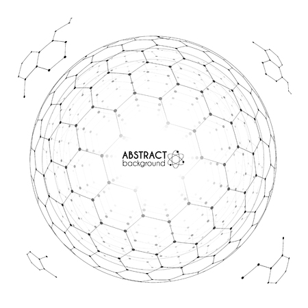 sceleton: Physics and chemistry science concept with hexagonal grid vector spheres with fragments isolated on white background