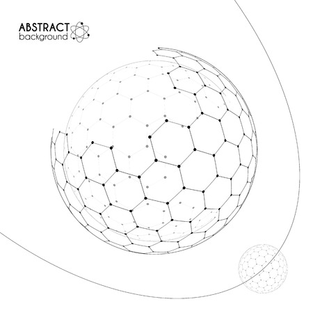 Cosmic science concept with hexagonal grid vector spheres on white background
