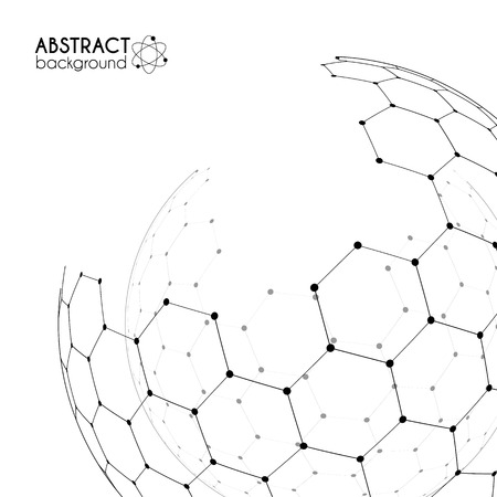 sceleton: Physics and chemistry science concept with hexagonal grid vector spheres