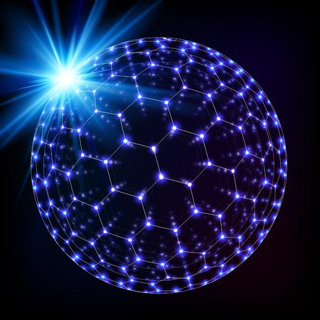 sceleton: Blue shining cosmic hexagonal grid shining sphere, vector concept