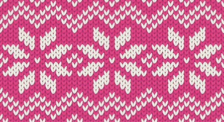 Pink vector realistic knit seamless pattern with white snowflakes and zig zag ornament tile Illustration