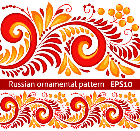Vector red and yellow floral ornamental pattern in traditional Russian style Hohloma