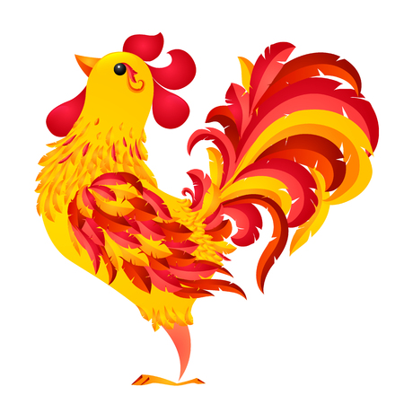 fiery: Red fiery vector rooster - symbol of 2017 new year by Chinese horoscope