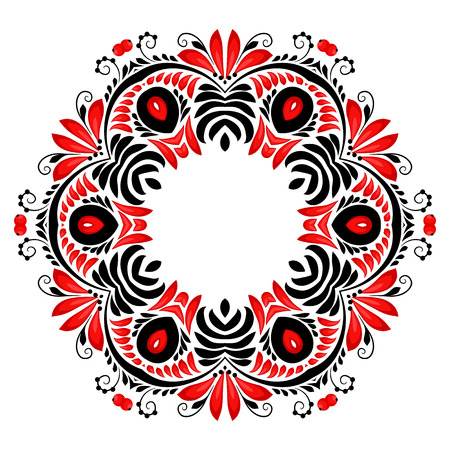 russian: Ornate vector floral round frame in Russian hohloma style isolated on white background Illustration