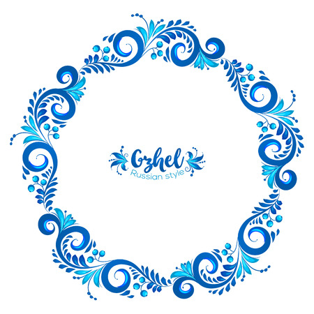 Blue round floral vector frame in Russian traditional Gzhel style isolated on white background