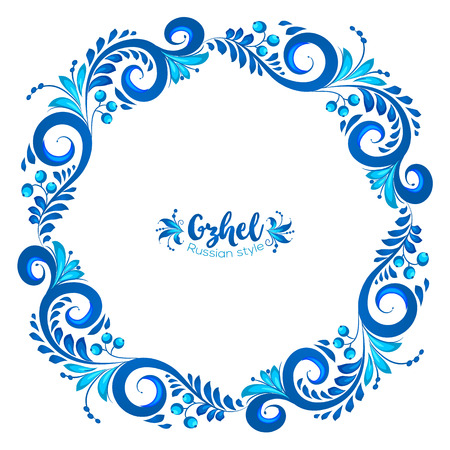 white russian: Blue round floral vector frame in Russian traditional Gzhel style isolated on white background
