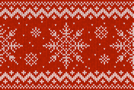 Christmas Knitting Seamless Pattern with Snowflakes and zig-zag