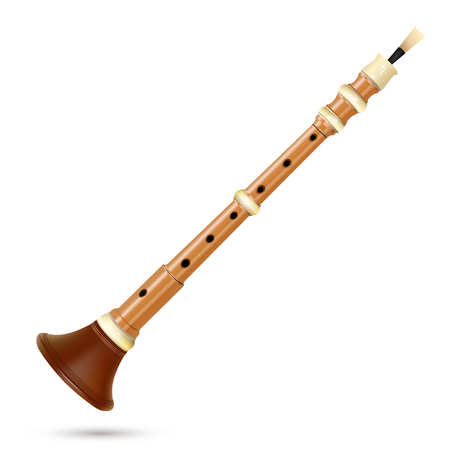 Vector bombarde isolated on white - Breton musical wind instrument made from light wood