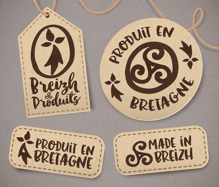 celtique: Breton vintage labels with signs in French - Produit en Bretagne Made in Brittany, vector set Illustration