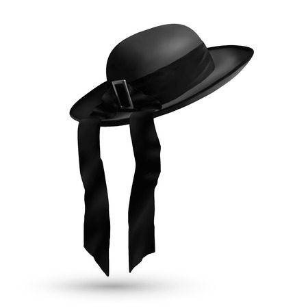 francais: Vector breton traditional mens hat with ribbon isolated on white background