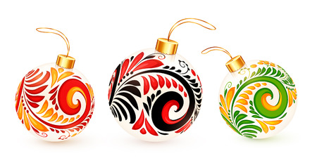 White vector Christmas balls with Russian khokhloma ornament