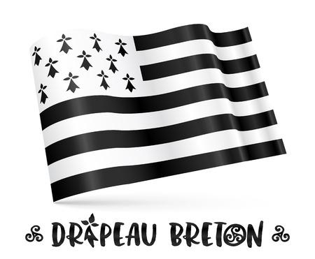 breton: Vector 3D Breton flag with stylized sign in - French Drapeau Breton