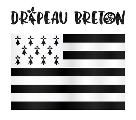 breton: Vector Gwen-ha-du - black-and-white - flat Breton flag with stylized sign in French Illustration