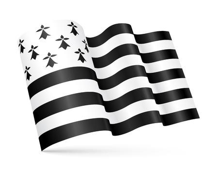 Vector Gwen-ha-du - black-and-white - 3D Breton waving flag isolated on white background 일러스트