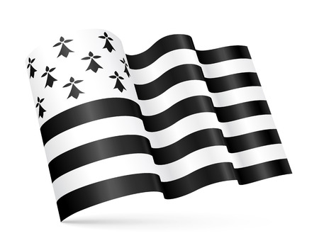 Vector Gwen-ha-du - black-and-white - 3D Breton waving flag isolated on white background Stock Illustratie