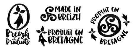triskele: Made in Brittany - Produit en Bretagne - vector logo and labels templates set