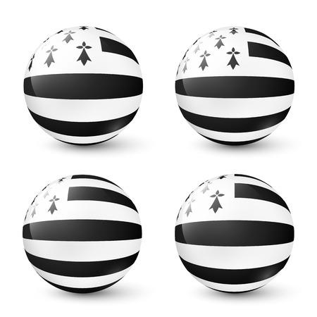 bretagne: Vector glass spheres set with Breton flag inside