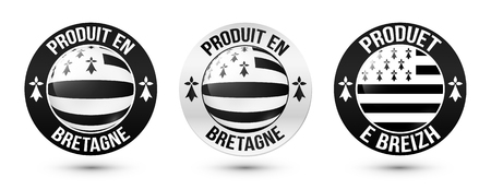 brittany: Set of Made in Brittany vector labels with signs in French and Breton languages Illustration
